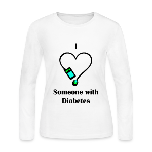 I Love Someone With Diabetes - Pump Design 2 - Blue/Green - Women's Long Sleeve Jersey T-Shirt