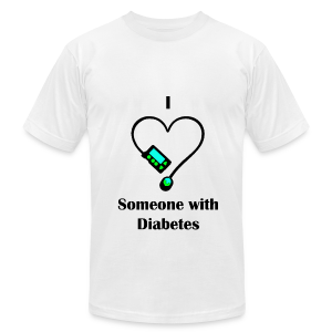 I Love Someone With Diabetes - Pump Design 1 - Blue/Green - Men's T-Shirt by American Apparel
