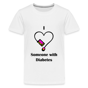 I Love Someone With Diabetes - Pump Design 1 - Pink/Orange - Kids' Premium T-Shirt
