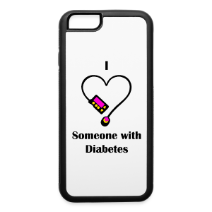 I Love Someone With Diabetes - Pump Design 1 - Pink/Orange - iPhone 6/6s Rubber Case