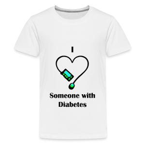 I Love Someone With Diabetes - Pump Design 1 - Blue/Green - Kids' Premium T-Shirt