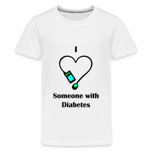 I Love Someone With Diabetes - Pump Design 2 - Blue/Green - Kids' Premium T-Shirt