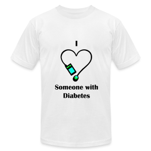 I Love Someone With Diabetes - Pump Design 2 - Blue/Green - Men's T-Shirt by American Apparel