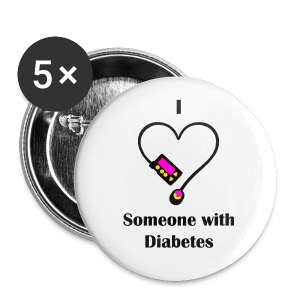 I Love Someone With Diabetes - Pump Design 1 - Pink/Orange - Large Buttons