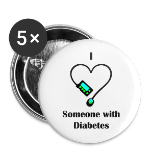 I Love Someone With Diabetes - Pump Design 1 - Blue/Green - Large Buttons
