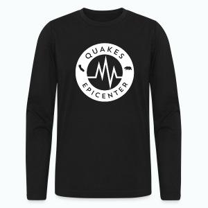 Quakes Epicenter Logo White - Mens White Long Sleeves Tee Shirt - Men's Long Sleeve T-Shirt by Next Level