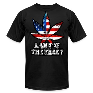Land of the Free Black - Men's T-Shirt by American Apparel