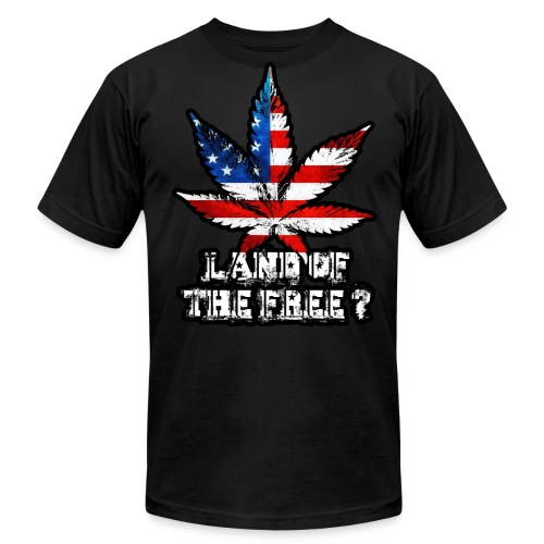 Land of the Free Black - Men's Fine Jersey T-Shirt
