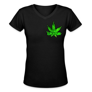 Go Green Black - Women's V-Neck T-Shirt