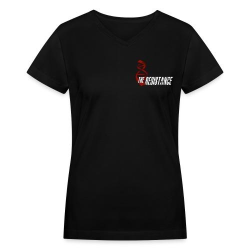 Womens THE RESISTANCE V-Neck T-Shirt DNA LOGO W/ QUOTE - Women's V-Neck T-Shirt