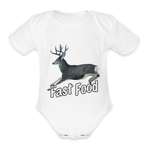 Fast Food Buck Deer - Organic Short Sleeve Baby Bodysuit
