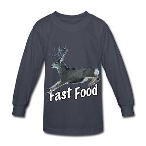 Fast Food Buck Deer - Kids' Long Sleeve T-Shirt