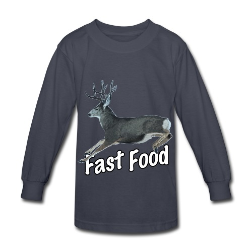 Fast Food Buck Deer - Kids' Long Sleeve T-Shirt