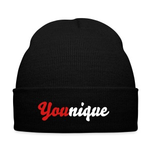 You(nique) Beanie Red - Knit Cap with Cuff Print