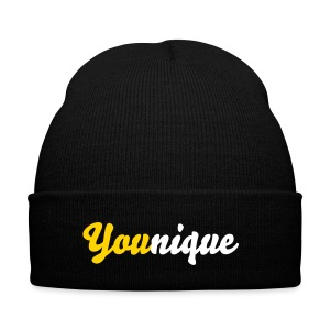 You(nique) Beanie Yellow - Knit Cap with Cuff Print