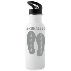 Run All 50 States Dual Design Water Bottle (Flag on one side and State List on other) - Water Bottle