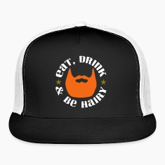 Eat Drink And Be Hairy Ginger Beard Trucker Hat