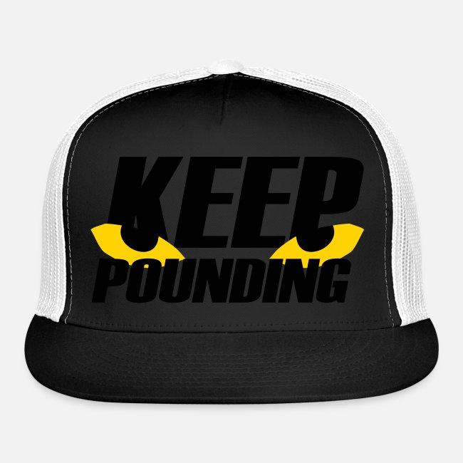 efe121d3 Keep Pounding Fan Club | Keep Pounding Spooky Eyes Trucker Hat ...