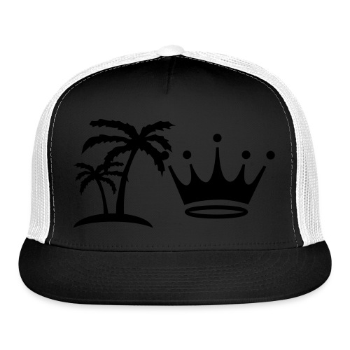 Palm Trees and Crown on Black and White Cap - Trucker Cap