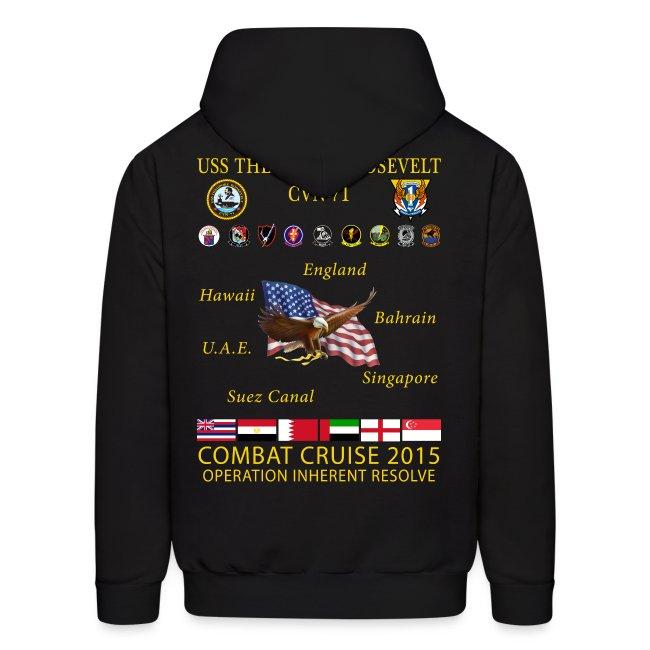 USS THEODORE ROOSEVELT CVN-71 2015 CRUISE HOODIE