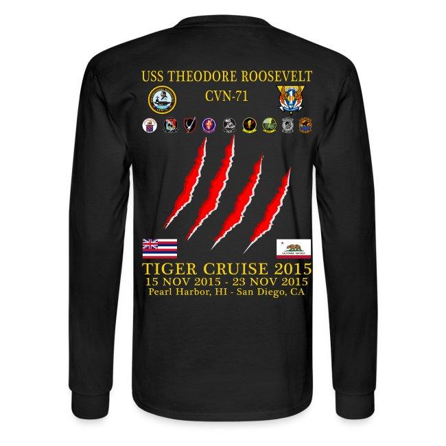 USS THEODORE ROOSEVELT CVN-71 2015 TIGER CRUISE SHIRT - LONG SLEEVE - CLAW