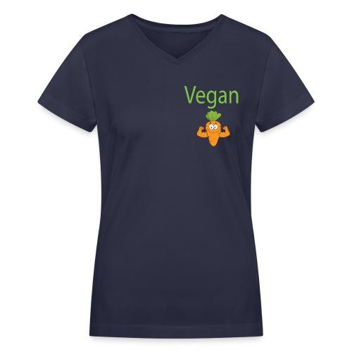 Vegan Strong Carrot - Women's V-Neck T-Shirt