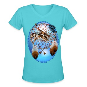 Pipe, Wolf, Arrows - Women's V-Neck T-Shirt