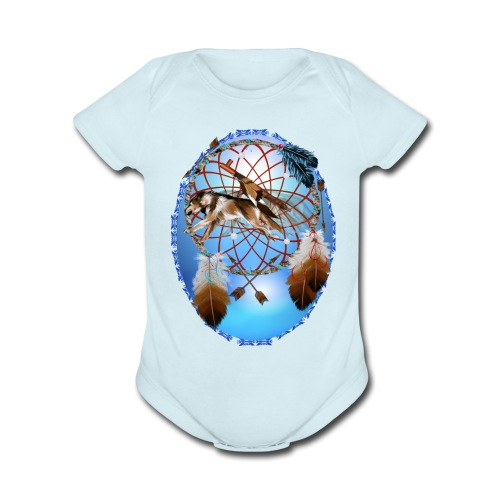Pipe, Wolf, Arrows - Organic Short Sleeve Baby Bodysuit