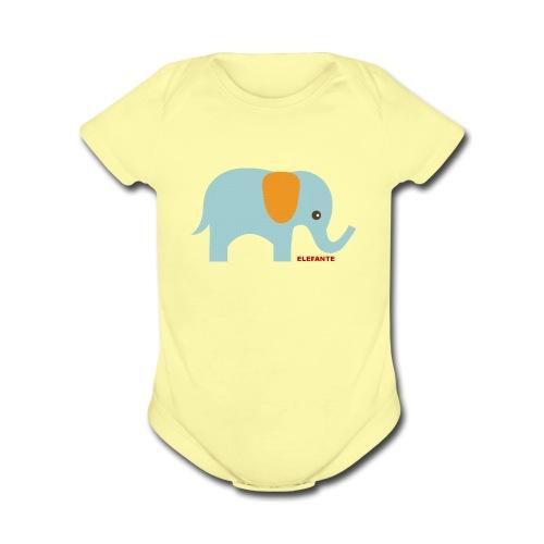 Baby Elephant One-Piece   - Organic Short Sleeve Baby Bodysuit
