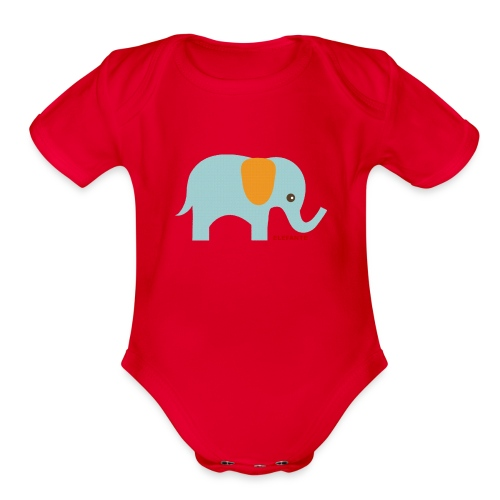 Baby Elephant One-Piece   - Organic Short Sleeve Baby Bodysuit