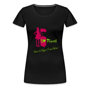 I Love Travel - Black - Women's Premium T-Shirt