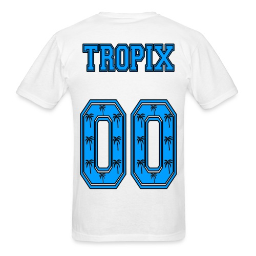 Tropix Logo Jersey T-Shirt with Tropix and Number on Back (Blue Text) - Men's T-Shirt