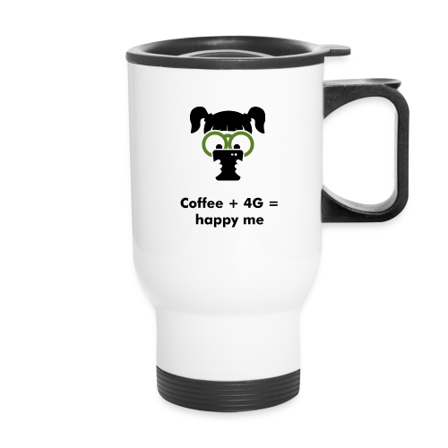 Coffee + 4G = happy me - smartphone addiction series - Travel Mug