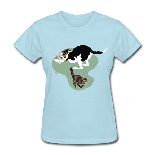 Women's Tee   Cat Makes the News - Women's T-Shirt