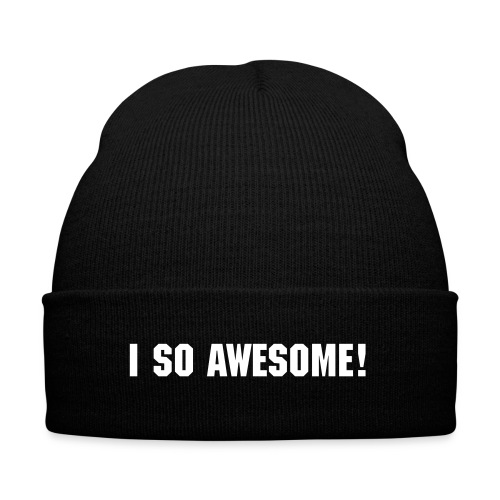 I so Awesome beanie (White) - Knit Cap with Cuff Print