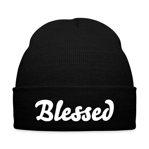 'Blessed' Knit Cap - Knit Cap with Cuff Print