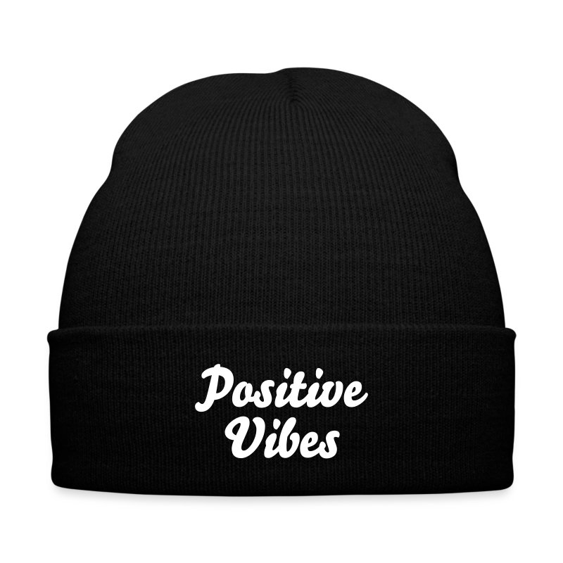 'Positive Vibes' Knit Cap - Knit Cap with Cuff Print
