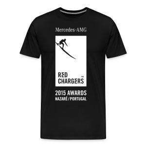 Red Chargers Basic Black Tee - White Front Logo - Men's Premium T-Shirt