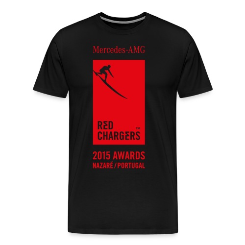 Red Chargers Basic Black Tee - Red Front Logo - Men's Premium T-Shirt