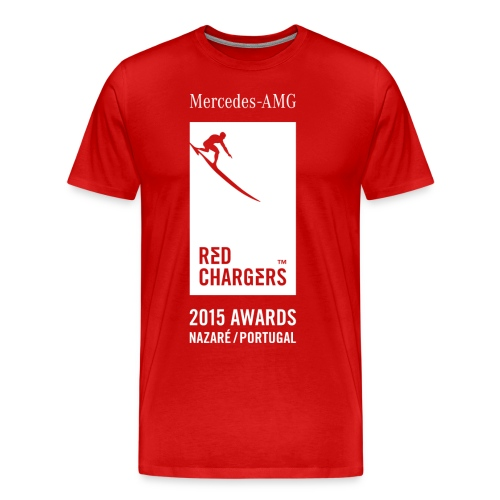 Basic Red Tee - White Logo - Men's Premium T-Shirt