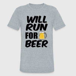 Will Run for Beer funny - Unisex Tri-Blend T-Shirt by American Apparel