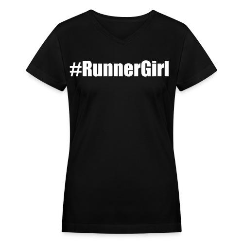#RunnerGirl, T-shirt - Women's V-Neck T-Shirt