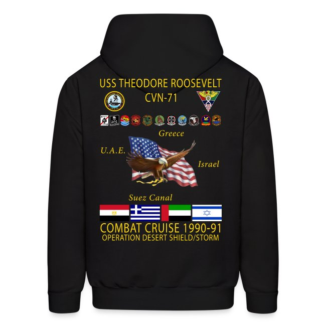 USS THEODORE ROOSEVELT CVN-71 COMBAT CRUISE 1990-91 HOODIE