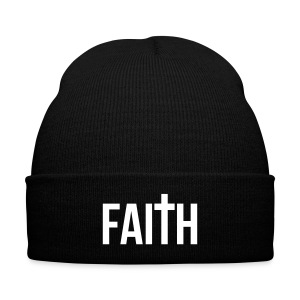 White Faith Beanie - Knit Cap with Cuff Print