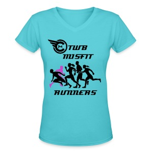 TWB Misfit Runners Womens w/ Name on Back - Women's V-Neck T-Shirt