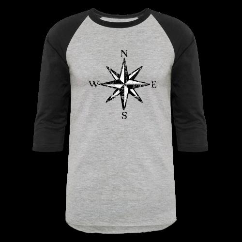 Compass Rose Vintage Bicolor Baseball T-Shirt - Baseball T-Shirt