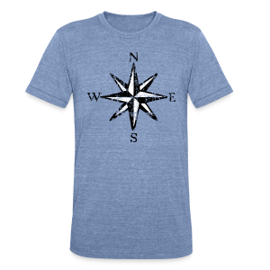 Compass Rose Vintage Bicolor Tri-Blend T-Shirt - Unisex Tri-Blend T-Shirt by American Apparel