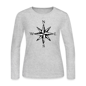 Compass Rose Vintage Bicolor Longsleeve Shirt - Women's Long Sleeve Jersey T-Shirt