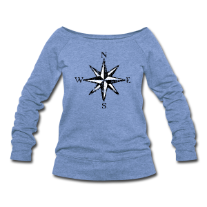 Compass Rose Vintage Bicolor Wideneck - Women's Wideneck Sweatshirt