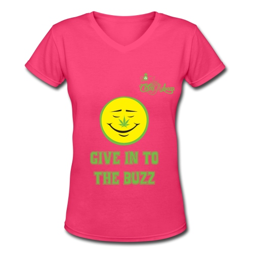Smiley Face with Pot Leaf Nose - Women's V-Neck T-Shirt - Women's V-Neck T-Shirt